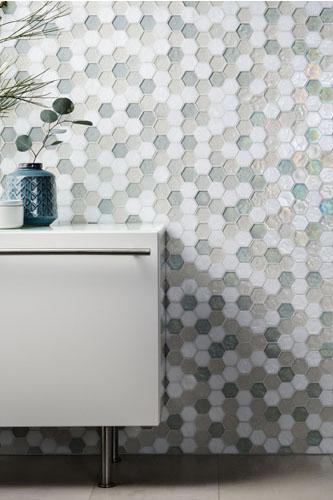 Hexagonal Marine-Colored Mosaic designed by Cathy Aroz.