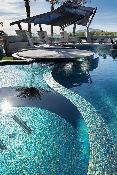 Rustic Contemporary Ranch Pool Sea Blue. Project by Red Rock Contractors.