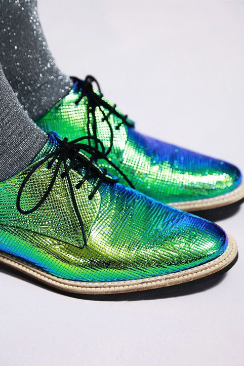 Iridescent Dragonfly Green Oxfords by Miista Zoe Dragonfly.