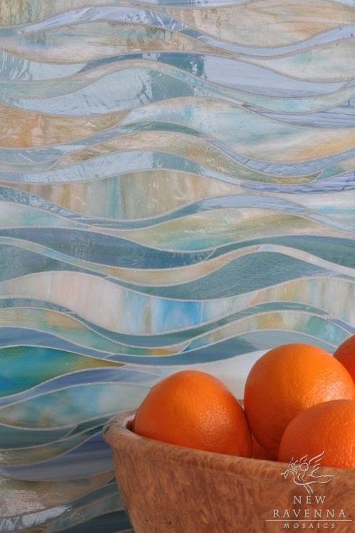 Iridescent custom glass mosaic.