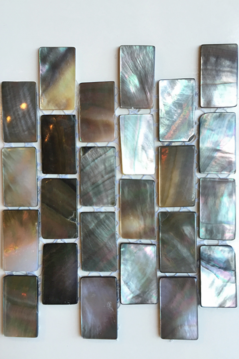 Iridescent shell small brick mosaic.