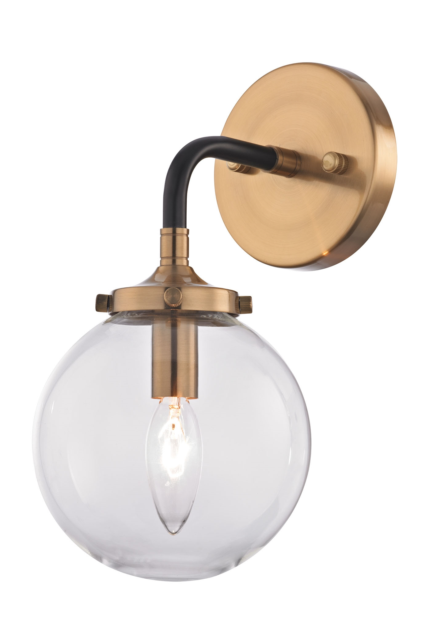 Glass sphere wall sconce with brass fixing.