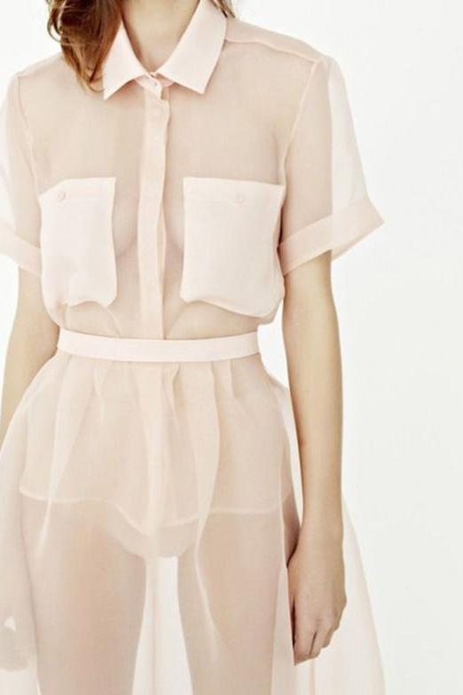Sheer light coral dress.