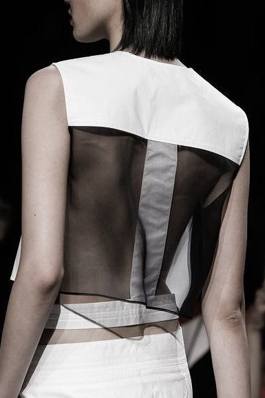 Sheer Back Black White Top by Helmut Lang.