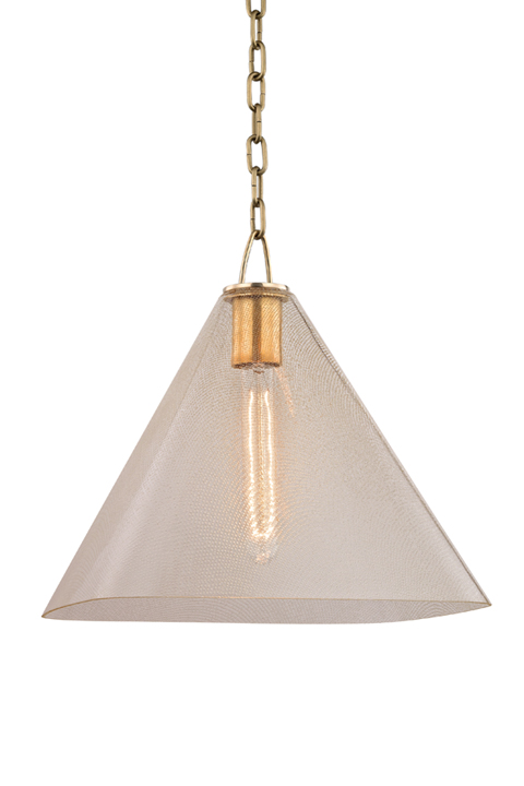 Triangular glass pendant with gold fittings.