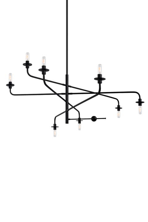 Bare bulb asymmetrical ceiling pendant.