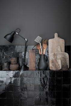 Glossy black onyx kitchen tile