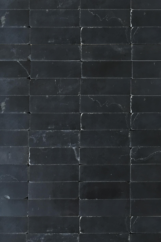 Smooth black stone brick mosaic tile