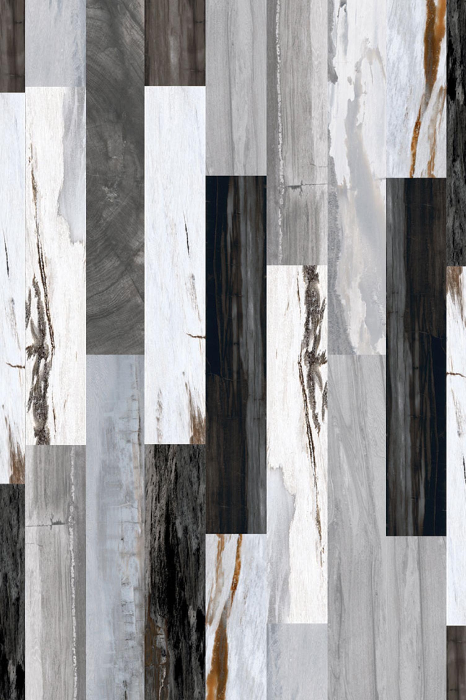 Oblong Black & White wood effect Kitchen Tile