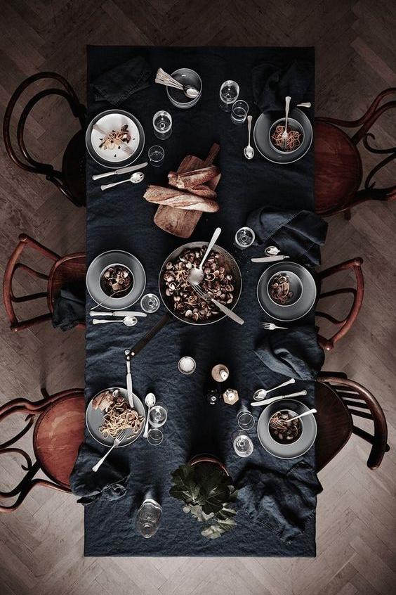 Black Tablecloth Feast