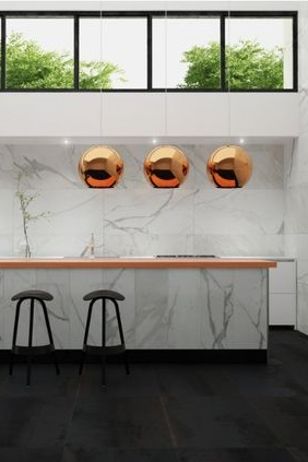 From Interceramic - Marble and Copper Bench