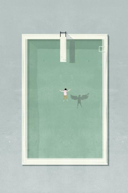 Pastel pool swimmer illustration