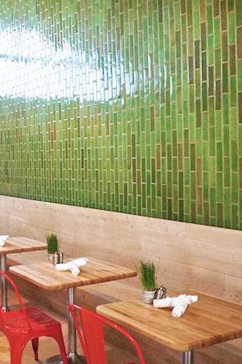 Fresh green tile at Vinaigrette Restaurant, Austin.
