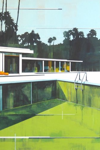 Lime green pool watercolor by Paul Davies