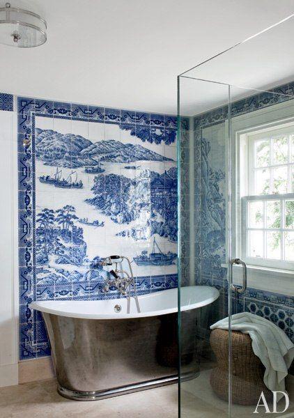 Designer Russell Piccione's dramatic bathroom makeover. Via Architectural Digest.