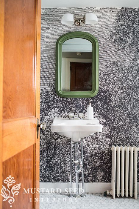 Large scale toile themed mural in a small bathroom by Mustard Interiors.