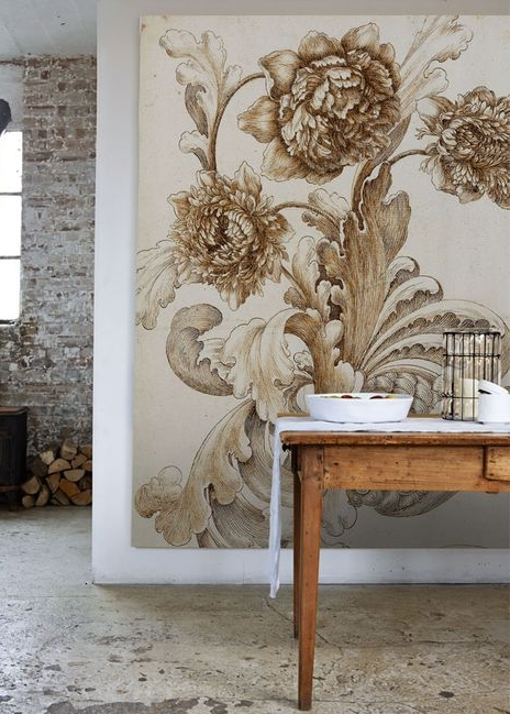 Large scale antique botanical image from Sir John Soane as wall hanging. Via Pinterest.