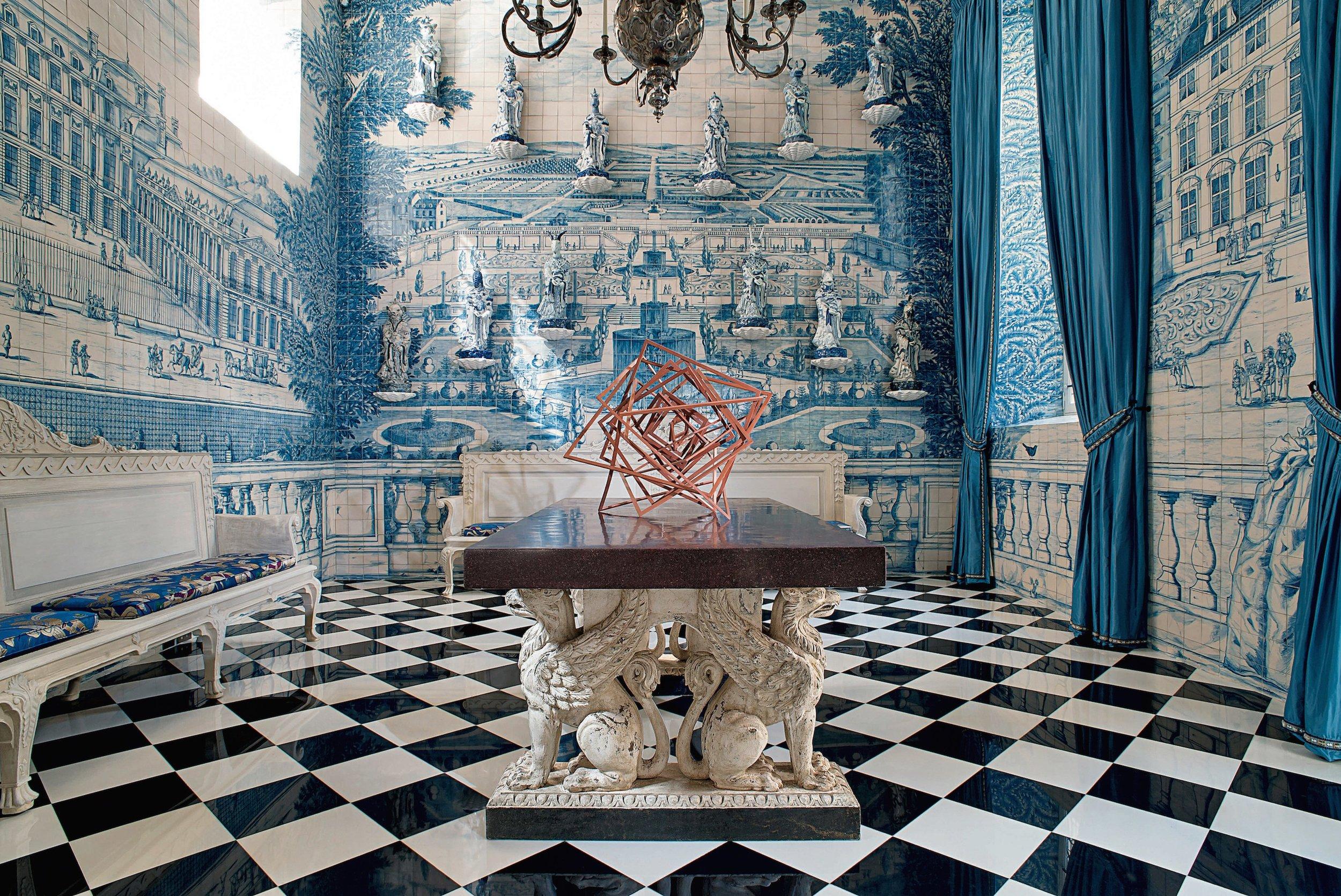 Designer  Juan Pablo Molyneux creates a vestibule covered entirely  in hand-painted tile by Atelier Prométhée  a t the Hôtel Claude Passart in Paris. Source:  Architectural Digest .