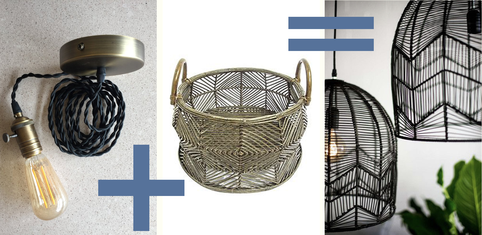 Light bulb & canopy set available at Statements. Basket from Shoptime via  Pinterest . Light fixture from Milly and Eugene via  Pinterest .