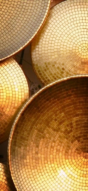 Golden mosaic bowls.