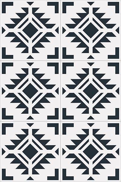 Black and white patterned concrete tile.