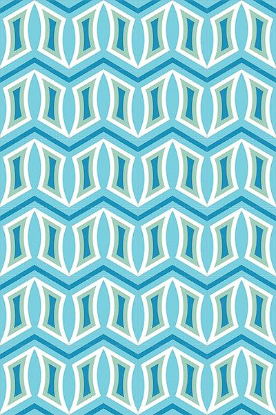 Turquoise graphic pattern cement tile.