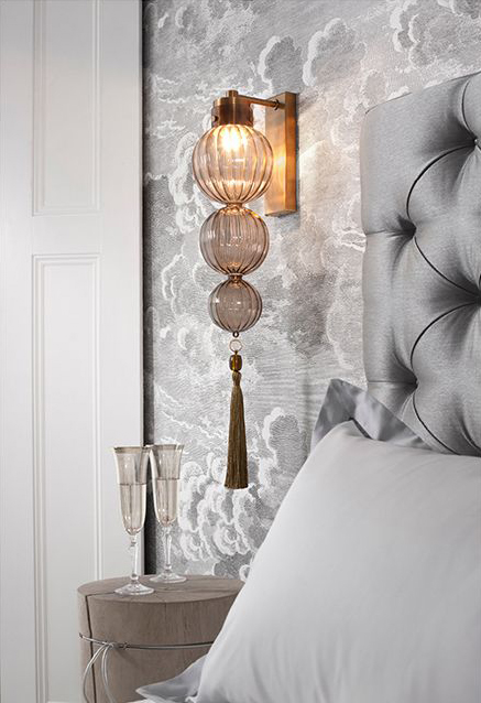 Elegant 3-tiered ribbed glass globe wall sconce with tassle.