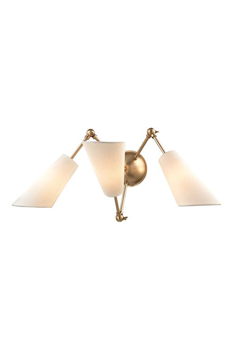 3-arm brass wall sconce, adjustable.