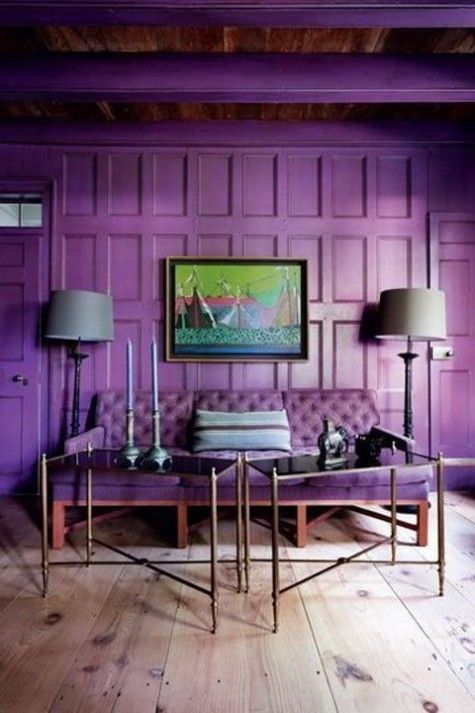 Violet wooden wall panelling with violet sofa, Comfy Dwelling.