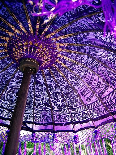 Purple Balinese parasol by Sally Francis.