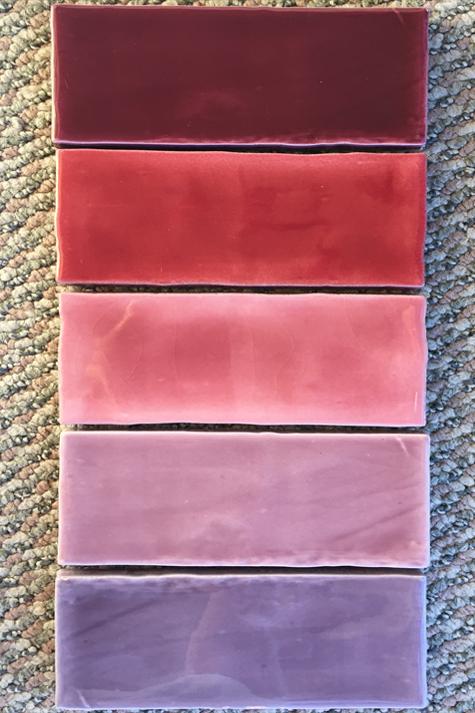 Rectangular porcelain tile in shades of purple, violet, pink & lavender.