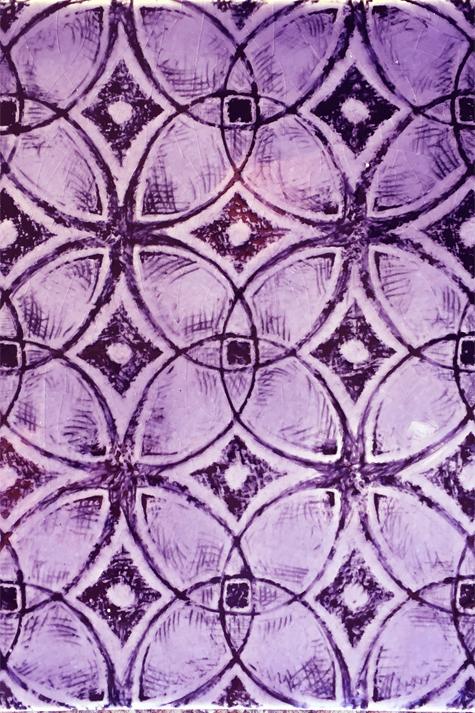 Purple porcelain tile with black pattern.