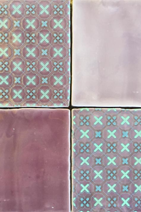 Porcelain tile for kitchen or bath in lavender purple.