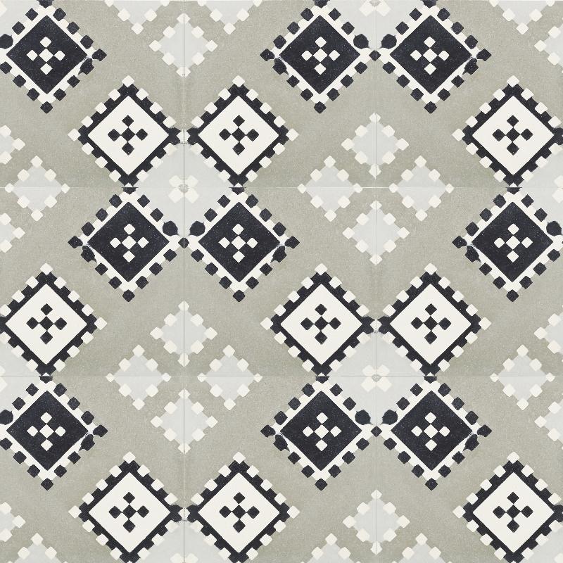 Cement tile, black white neutrals, square patterns.