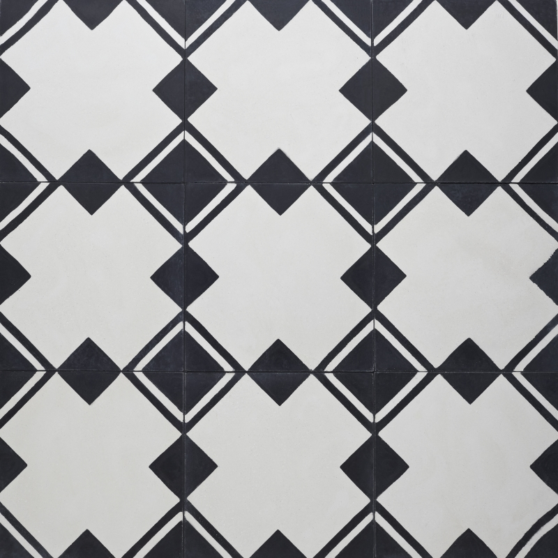 Black and white cement tile with square pattern.