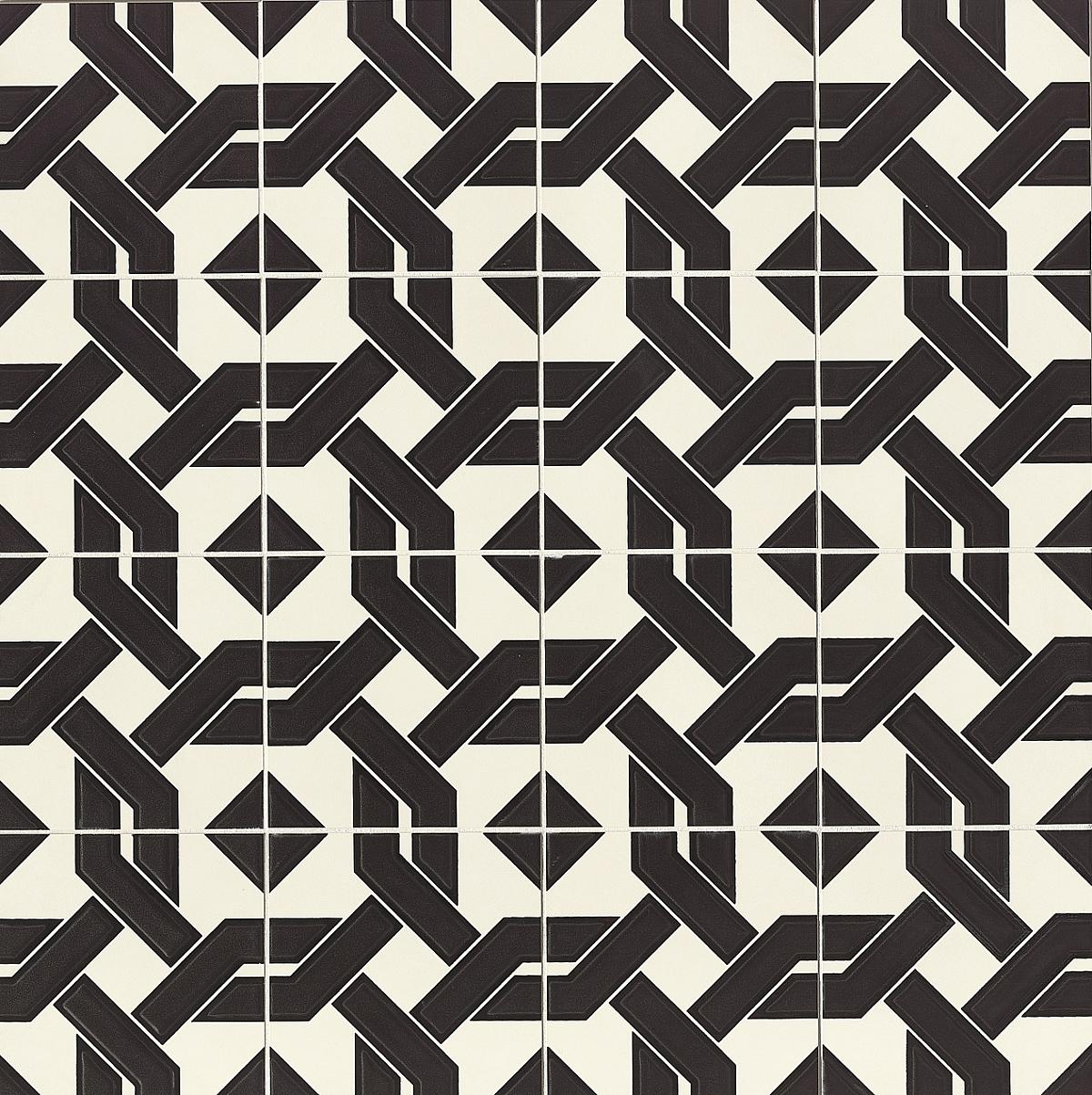 Black & white cement tile with interwoven pattern.