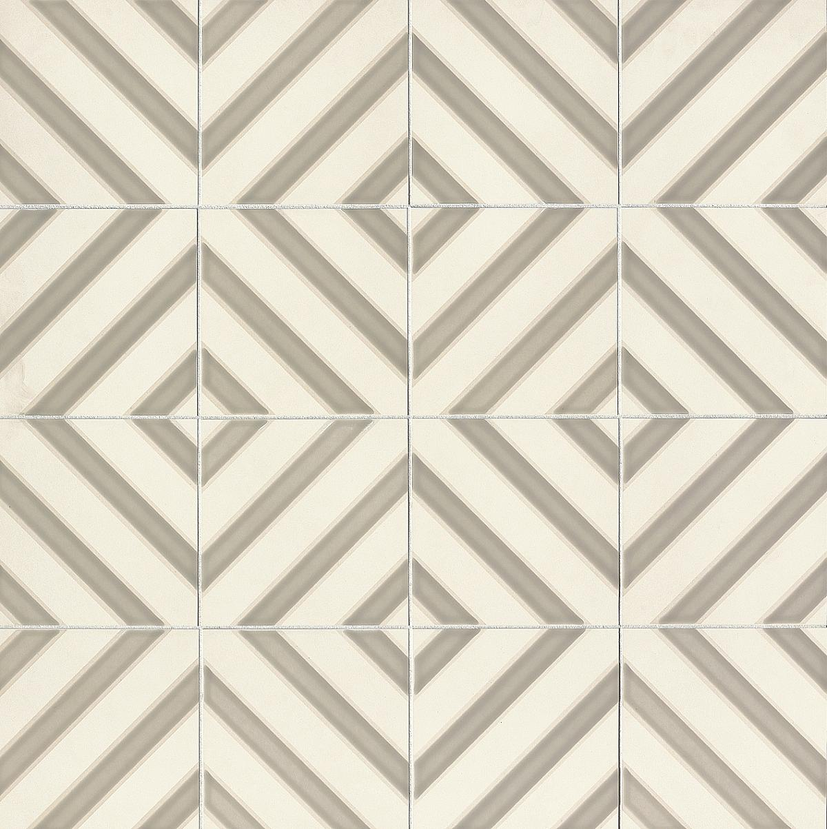 Taupe and grey diamond pattern cement tile.