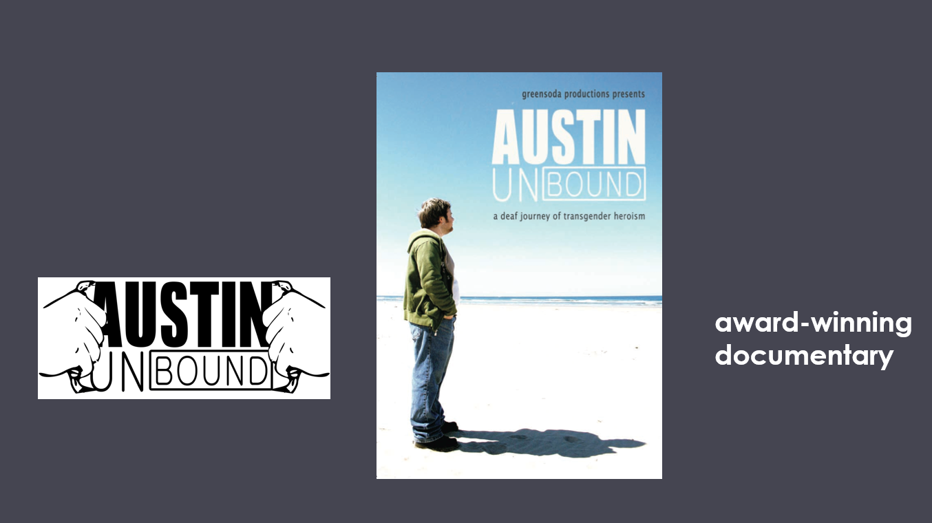 """Austin Unbound logo - two hands pulling open over the title of the film like Superman. A  postcard of the film with a man named Austin standing on a a beach with blue sky all around. """"award winning documentary"""""""
