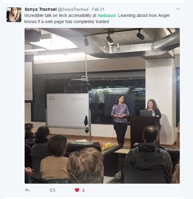 """Tweet by Sonya Trachsel says """"Incredible talk on tech accessibility at #pdxaux. Learning about how Angel knows if a web page has completely loaded"""""""