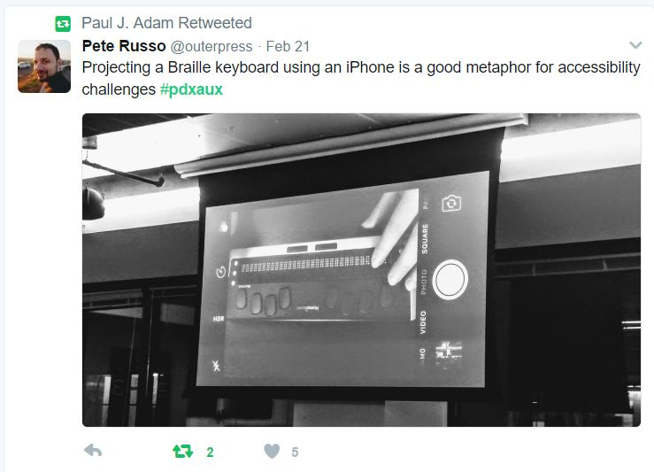 """Tweet by Pete Russo says """"Projecting a Braille keyboard using an iPhone is a good metaphor for accessibility challenges #pdxaux"""