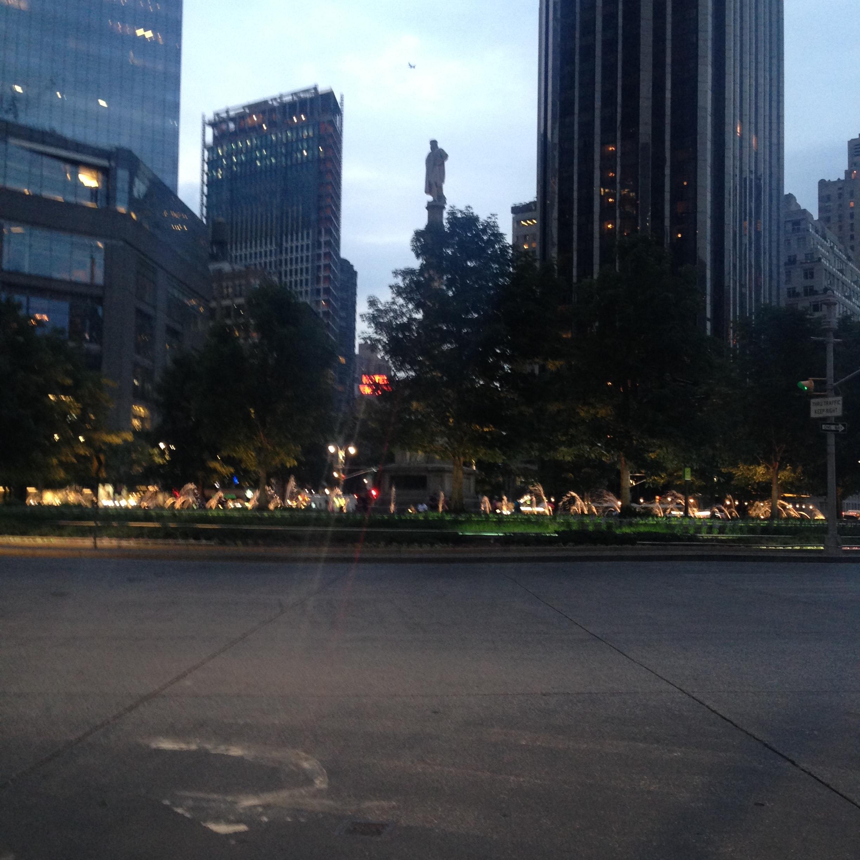^ Columbus Circle at night