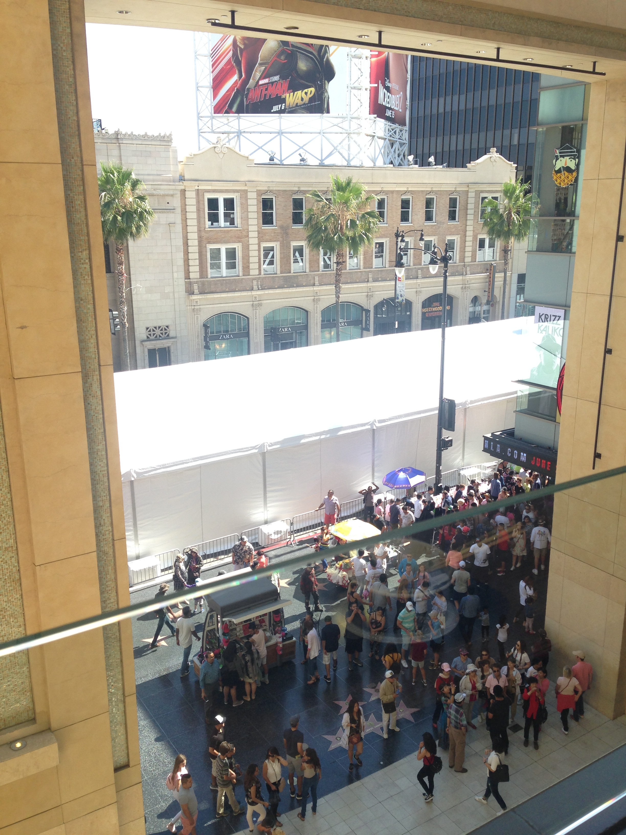 ^ Looking out to Hollywood Blvd