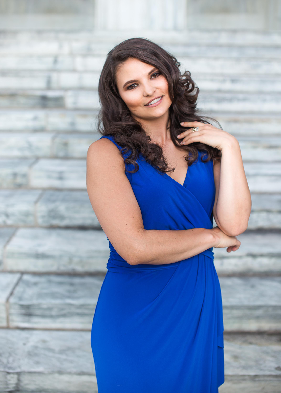 Formal Blue Dress Marble Steps Headshot