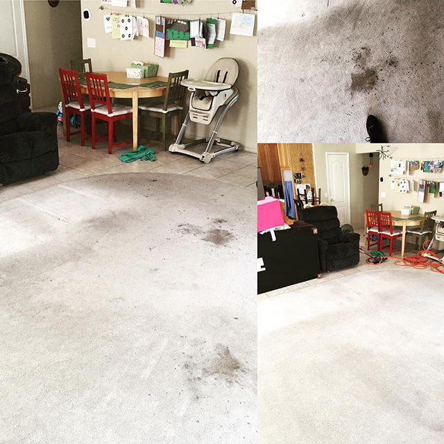 "Even if you have ""really bad stains"", give us a call. This is the before and after of a home we cleaned today! Carpet cleaning, window cleaning, pressure washing!"