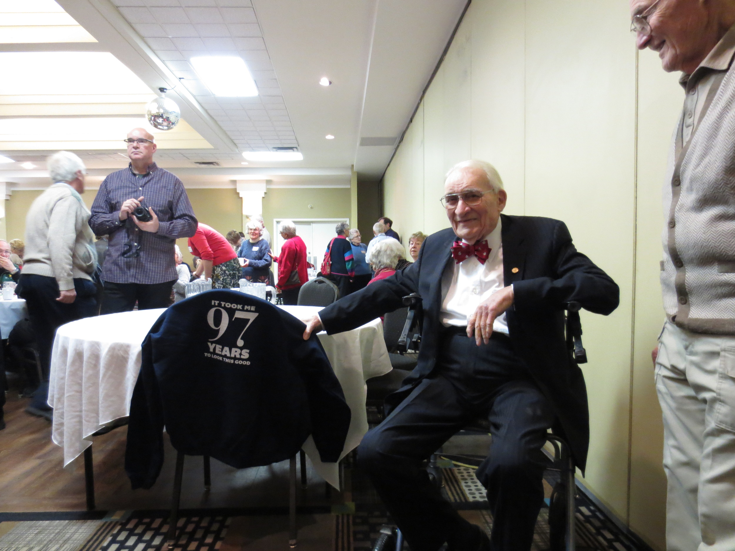 Jack Boan celebrating his 97th birthday in December 2014 in Regina, Saskatchewan.