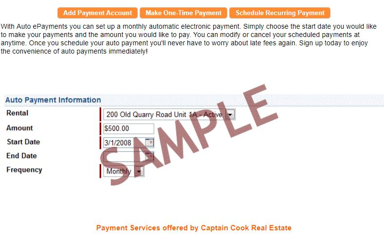 tenants can pay rent online any time or setup automatic rent monthly rent payments