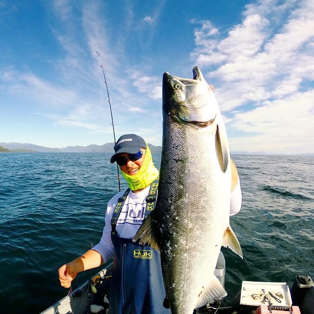 Sonar shows off a nice Coho Salmon he caught in Southeast Alaska