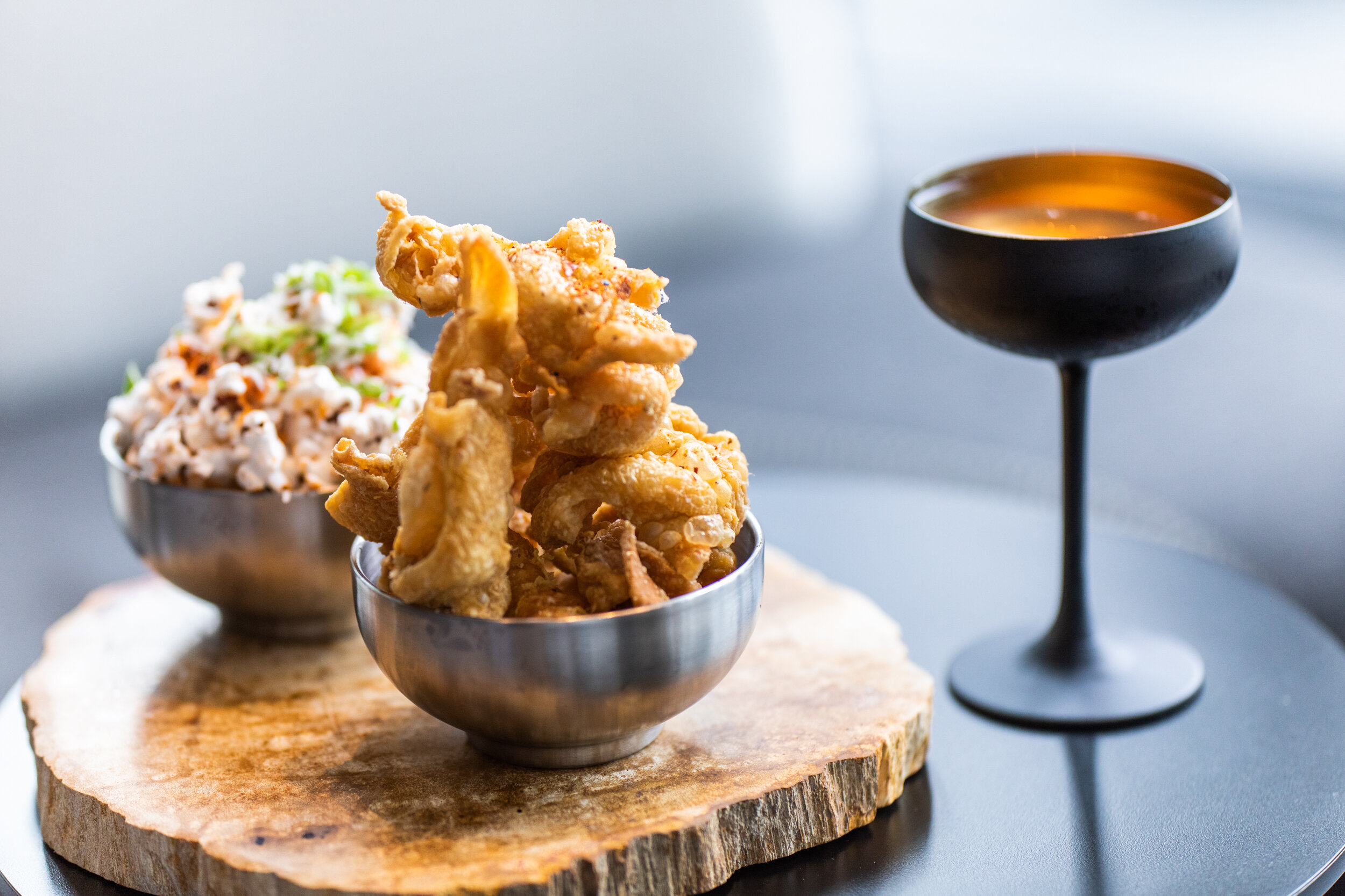 Popcorn with chicken skins and cocktail 3.jpg