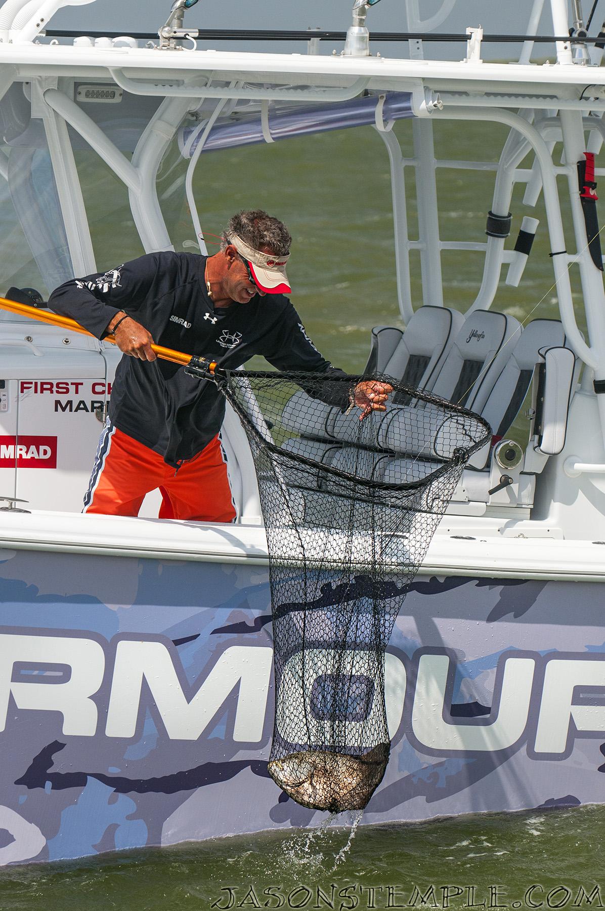 Scott Walker Nets A Beautiful Tripletail with the Frabill Power Stow Net
