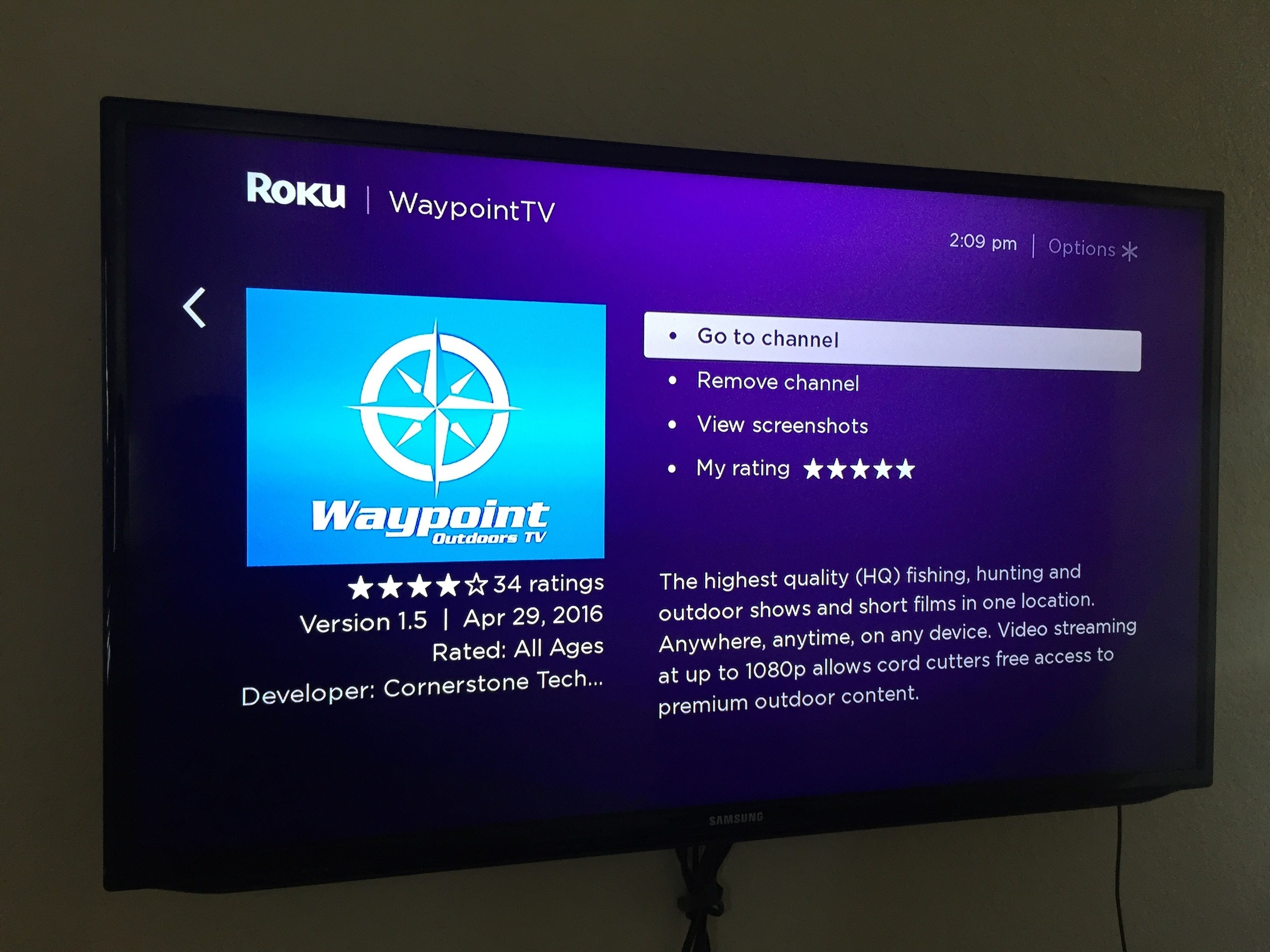 Add the waypoint tv channel on your roku